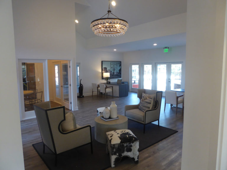 apartment amenity renovation interior lobby painting flooring lighting clubhouse leasing office