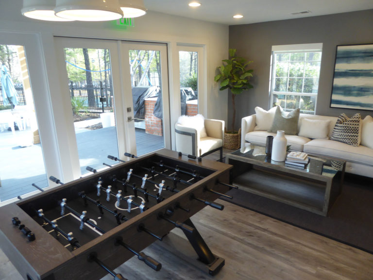 apartment amenity renovation interior painting flooring lighting french doors game room lounge lobby leasing office clubhouse