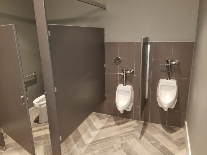 amenity renovation fitness center gym painting flooring lighting bathroom urinal