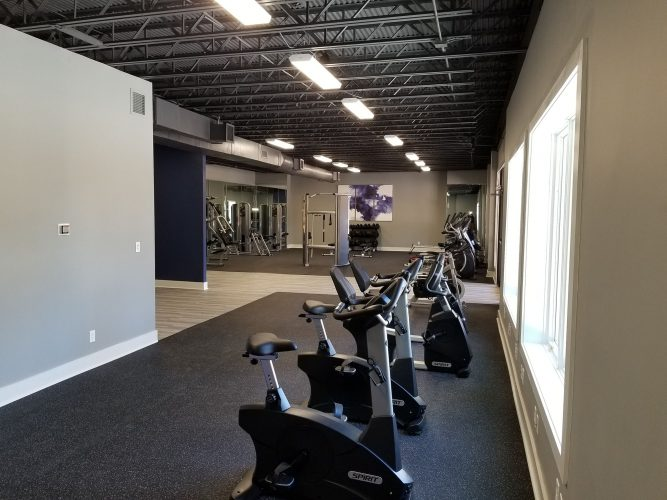 amenity renovation fitness center gym painting flooring lighting mirrors