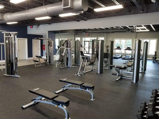 amenity renovation fitness center gym painting flooring lighting mirrors (1)