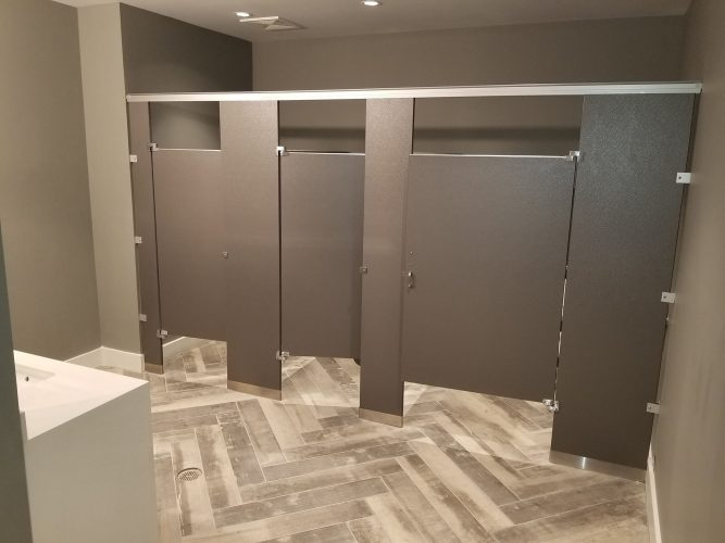 amenity renovation fitness center gym painting flooring lighting partition