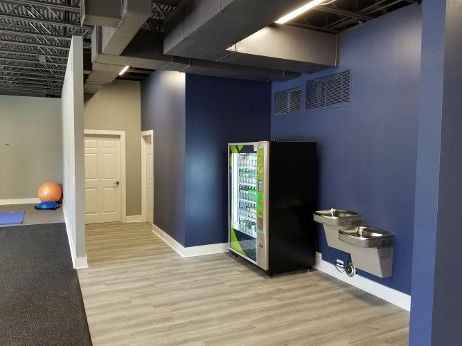 amenity renovation fitness center gym painting flooring lighting water fountain