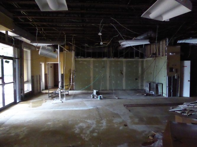 amenity renovation fitness center gym studs electrical drywall
