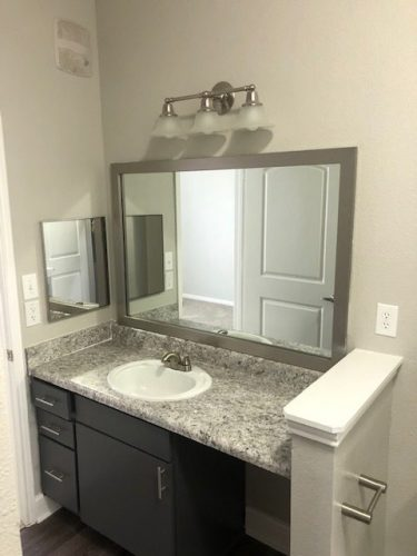 apartment bathroom renovation mirror light