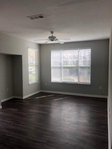 apartment bedroom renovation ceiling fan blinds