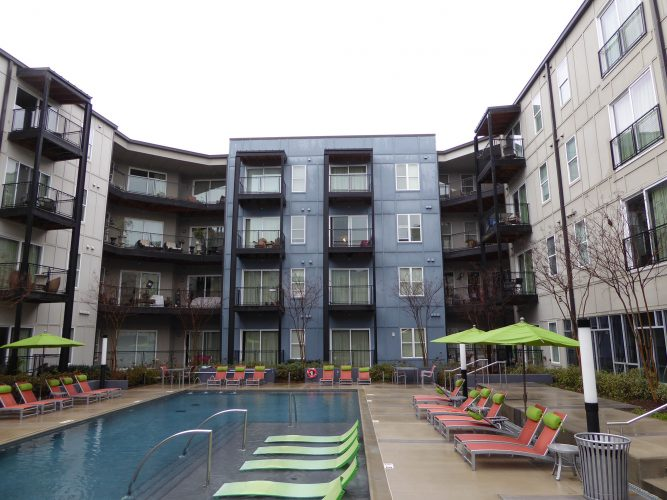 apartment exterior paint balcony pool area renovation