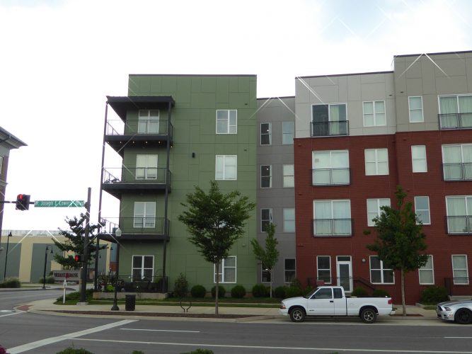 apartment exterior paint renovation corner of building balconies(1)