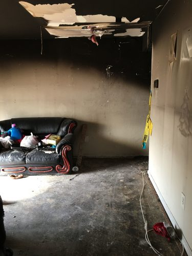 apartment fire damage interior ceiling remediation