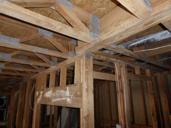 apartment fire damage interior framing remediation