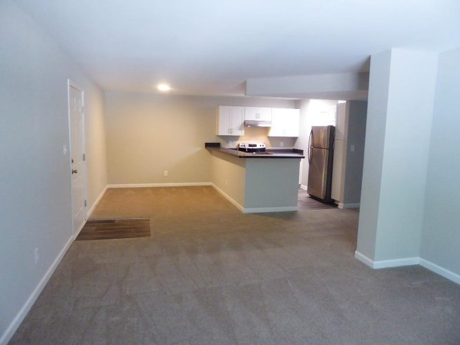 apartment fire damage interior kitchen living room complete remediation