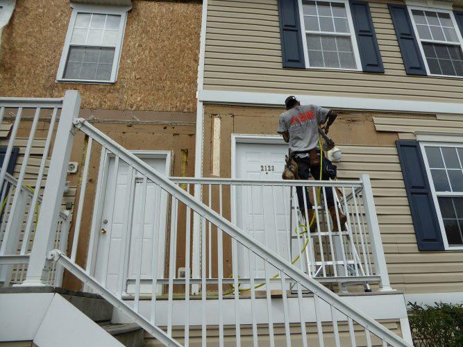 apartment hardie siding paint porch in progressrenovation