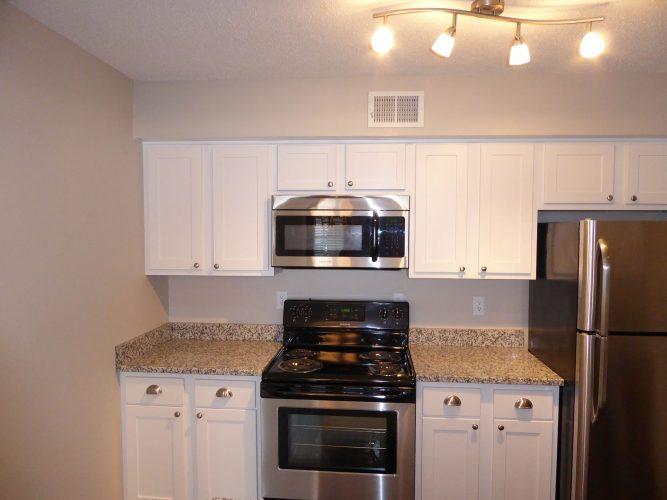 apartment kitchen appliance countertop cabinet lighting renovation