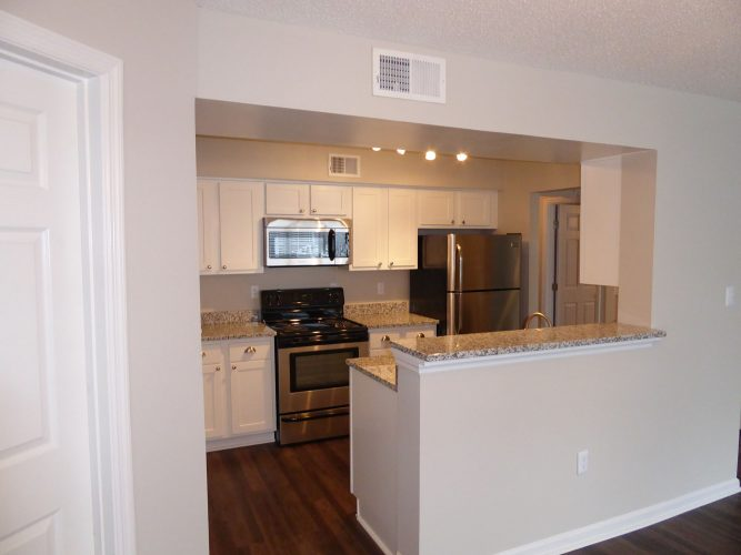 apartment kitchen cabinet countertop appliances lighting renovation